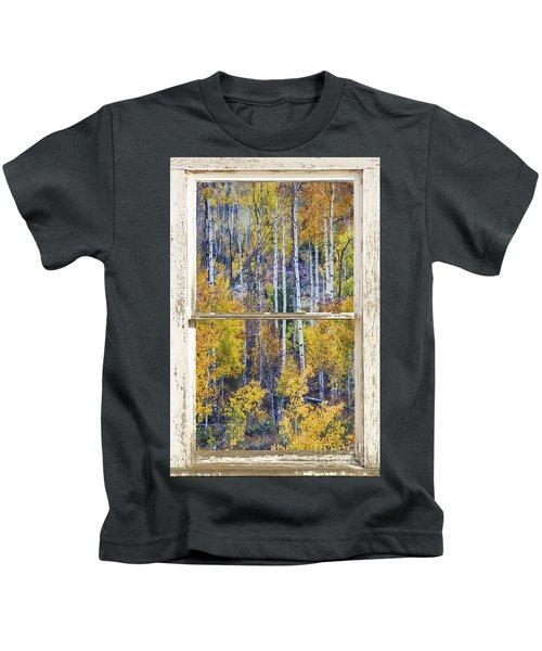 Aspen Tree Magic Cottonwood Pass White Farm House Window Art Kids T-Shirt