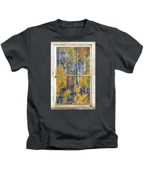 Aspen Tree Magic Cottonwood Pass White Farm House Window Art Kids T-Shirt
