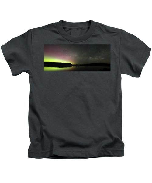 Aurora Borealis And Milky Way Over Yellowstone River Kids T-Shirt