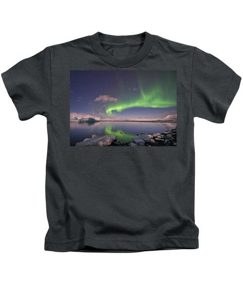 Aurora Borealis And Reflection #2 Kids T-Shirt
