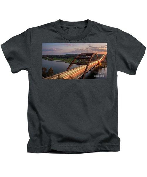 Austin 360 Bridge At Night Kids T-Shirt