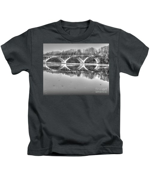 Autumn Bridge Reflections In Black And White Kids T-Shirt