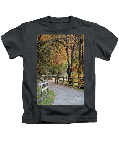 Autumn Path In Park In Maryland Kids T-Shirt