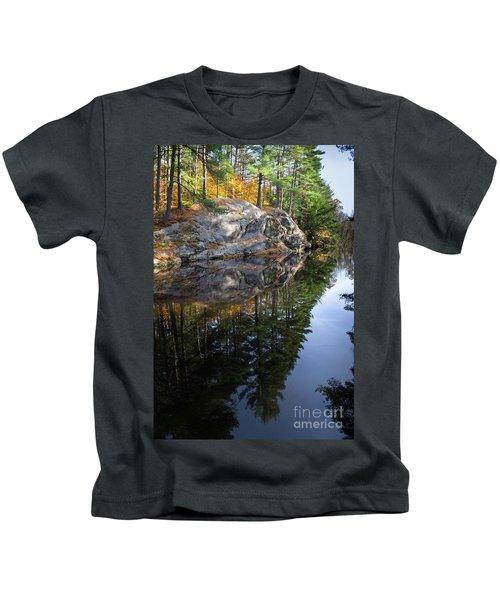 Autumn Reflections At Runaround Pond In Durham Maine  -20224 Kids T-Shirt