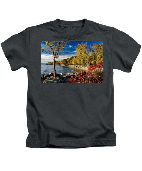 Autumn Scene Lake Ontario Canada Kids T-Shirt