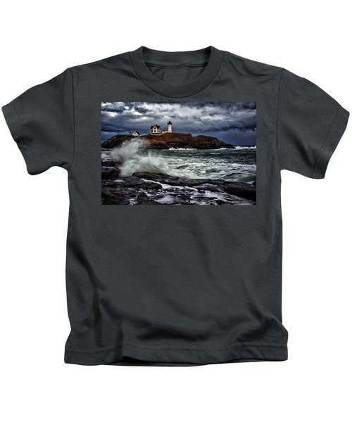 Autumn Storm At Cape Neddick Kids T-Shirt
