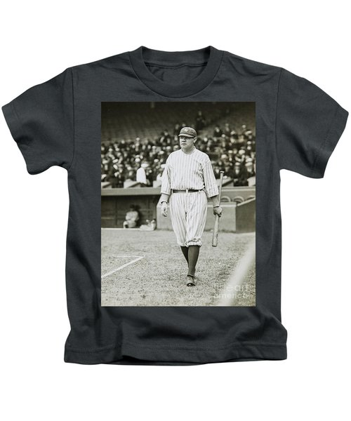 Babe Ruth Going To Bat Kids T-Shirt by Jon Neidert