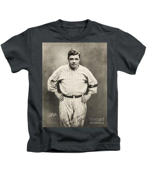 Babe Ruth Portrait Kids T-Shirt by Jon Neidert
