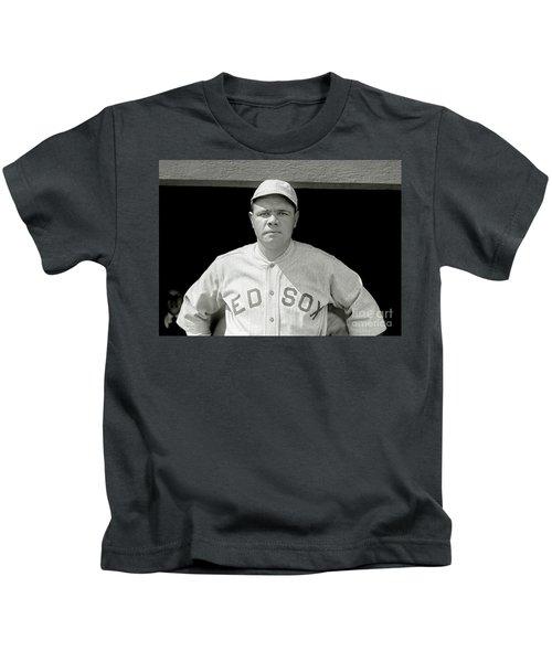 Babe Ruth Red Sox Kids T-Shirt by Jon Neidert
