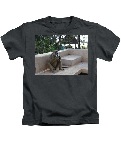 Baboon With A Sweet Tooth Kids T-Shirt by Exploramum Exploramum