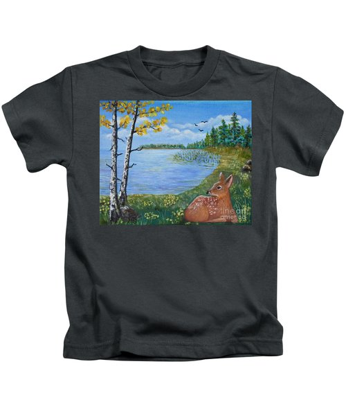Baby Fawn In Spring Kids T-Shirt