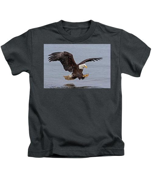 Bald Eagle Diving For Fish In Falling Snow Kids T-Shirt