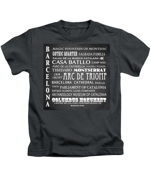 Barcelona Famous Landmarks Kids T-Shirt