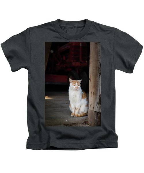 Barn Cat And Tractor Kids T-Shirt