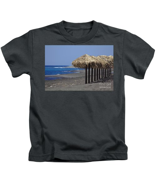 Kids T-Shirt featuring the photograph Beach At Perivolos by Jeremy Hayden