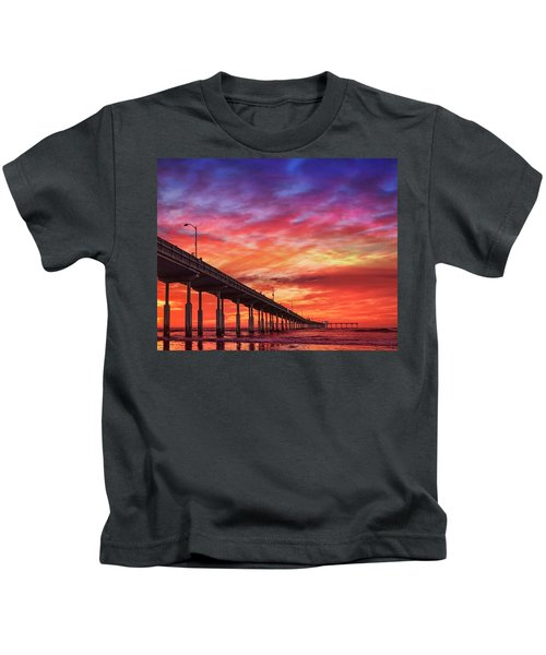 Beach Sunset Ocean Wall Art San Diego Artwork Kids T-Shirt