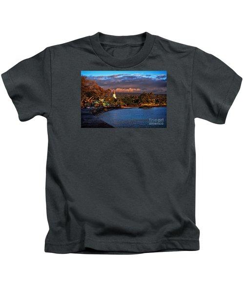 Beach Town Of Kailua-kona On The Big Island Of Hawaii Kids T-Shirt