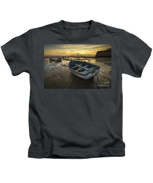 Beached Boat On La Caleta Cadiz Spain Kids T-Shirt