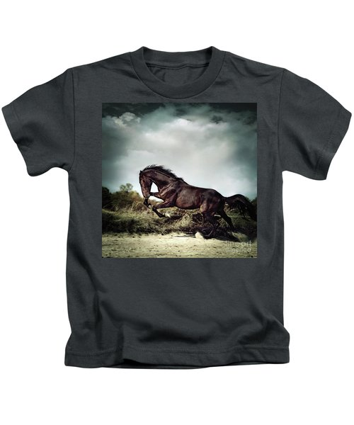 Beautiful Black Stallion Horse Running On The Stormy Sky Kids T-Shirt