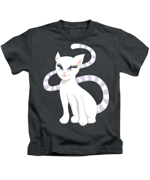 Beautiful Cartoon Cute White Cat Kids T-Shirt
