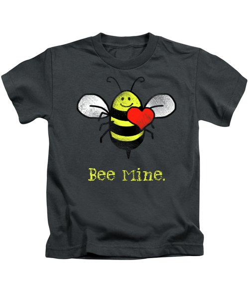 Bee Mine Cute Bee With Heart For Valentines Day Kids T-Shirt