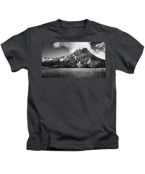Big Snowy Mountain In Black And White Kids T-Shirt