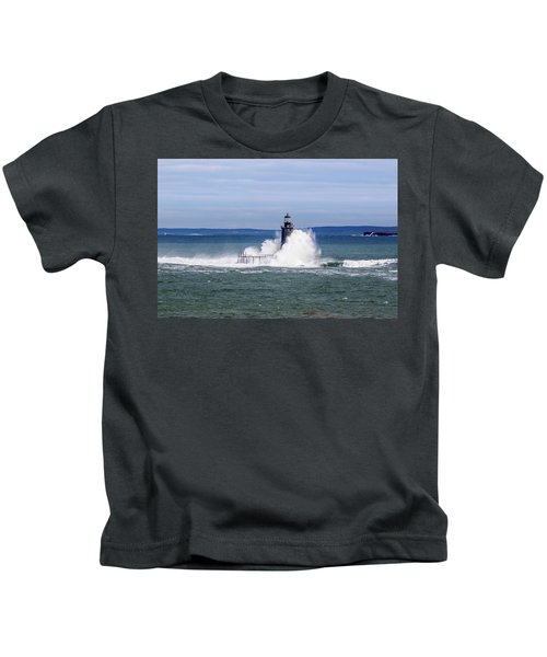 Big Wave Hits Ram Island Ledge Light Kids T-Shirt