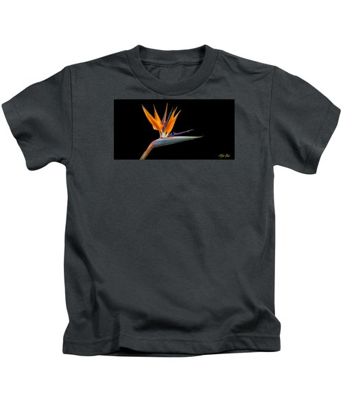 Bird Of Paradise Flower On Black Kids T-Shirt