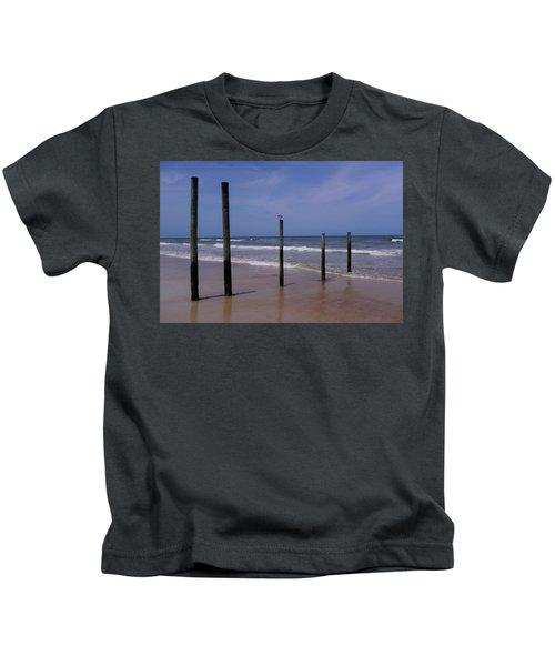 Bird On One Of Five Poles In Daytona Beach Florida Kids T-Shirt