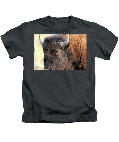 Bison Head Study Kids T-Shirt