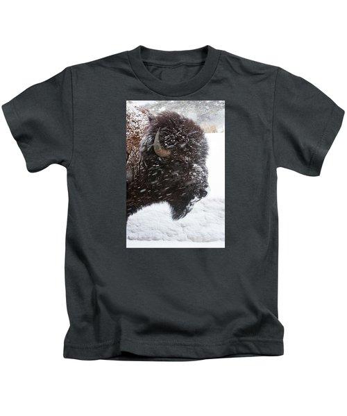 Bison In Snow Kids T-Shirt