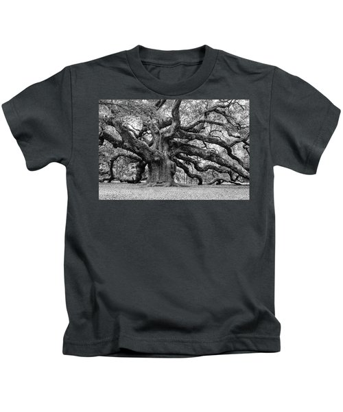 Black And White Angel Oak Tree Kids T-Shirt