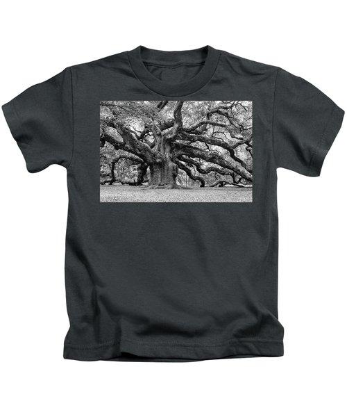 Black And White Angel Oak Tree Kids T-Shirt