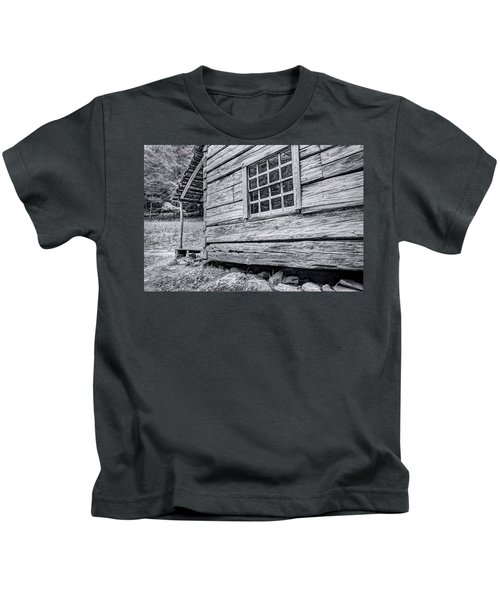 Black And White Cabin In The Forest Kids T-Shirt