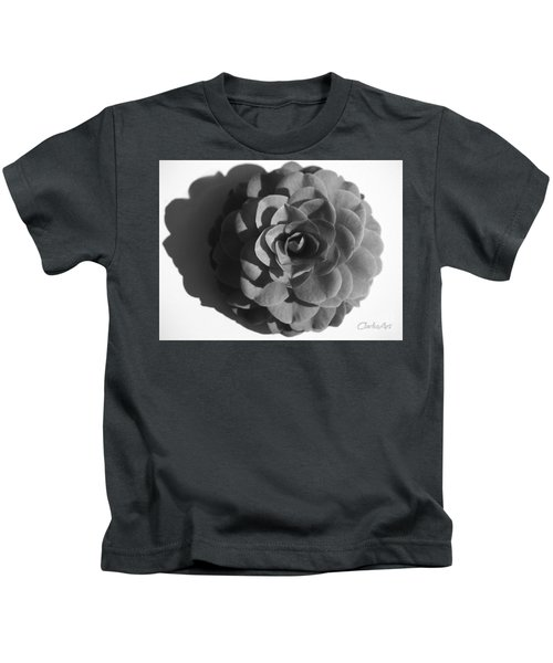 Camellia In Black And White Kids T-Shirt