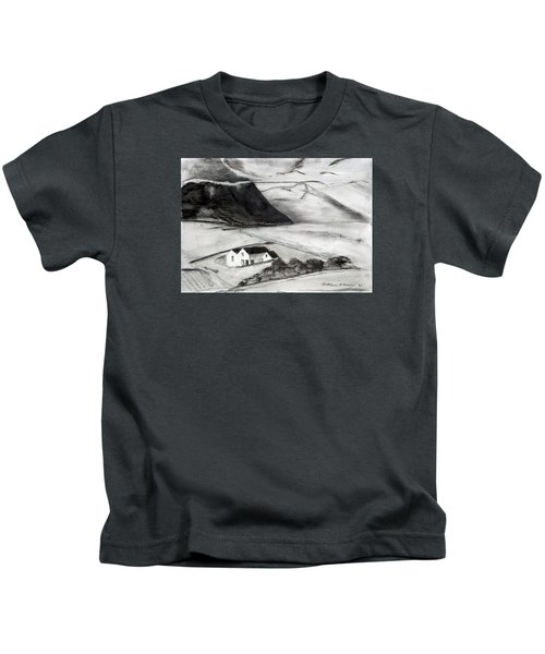 Black And White House And Hills Kids T-Shirt