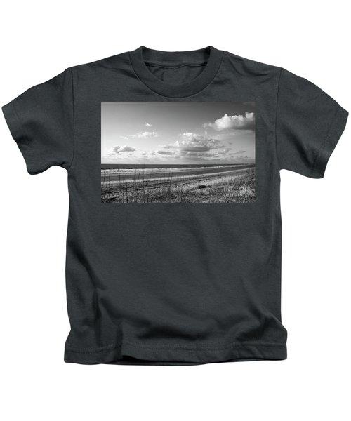 Black And White Ocean Scene Kids T-Shirt