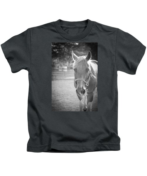 Black And White Portrait Of A Horse In The Sun Kids T-Shirt