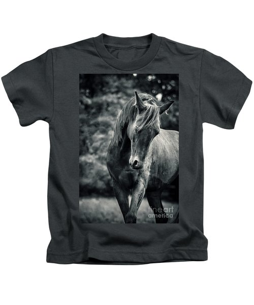Black And White Portrait Of Horse Kids T-Shirt