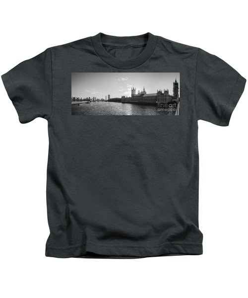 Black And White View Of Thames River And House Of Parlament From Kids T-Shirt