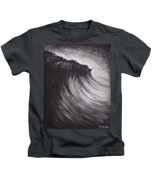 Black And White Wave Guam Kids T-Shirt