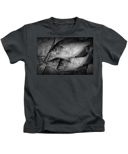 Black Crappie Panfish With Fish Filet Knife In Black And White Kids T-Shirt