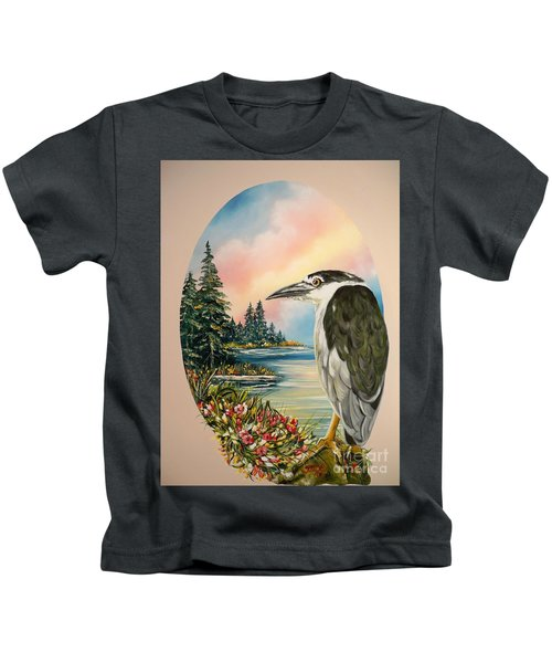 Flying Lamb Productions                     Black Crowned Heron Kids T-Shirt