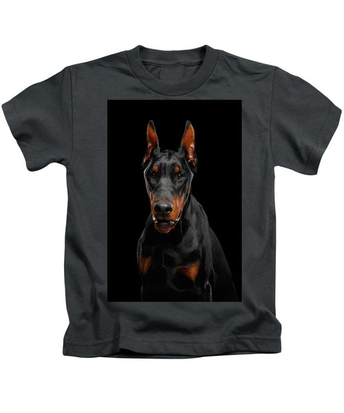 Black Doberman Kids T-Shirt