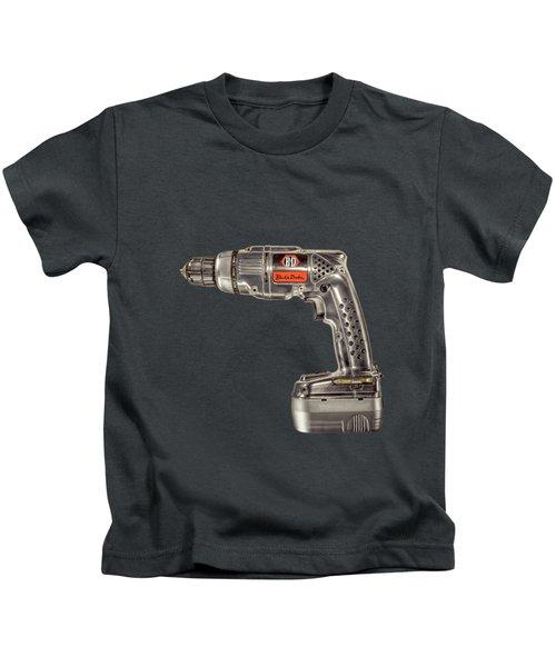 Black N Decker Retro Drill On Black Kids T-Shirt