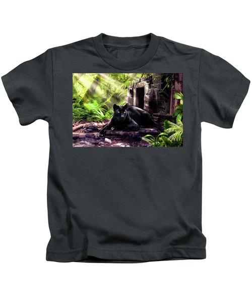 Black Panther Custodian Of Ancient Temple Ruins  Kids T-Shirt by Regina Femrite