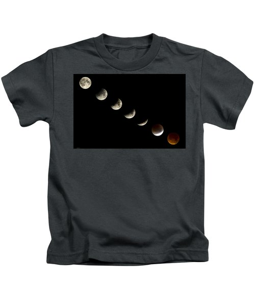 Bloodmoon Lunar Eclipse With  Phases Composite Kids T-Shirt