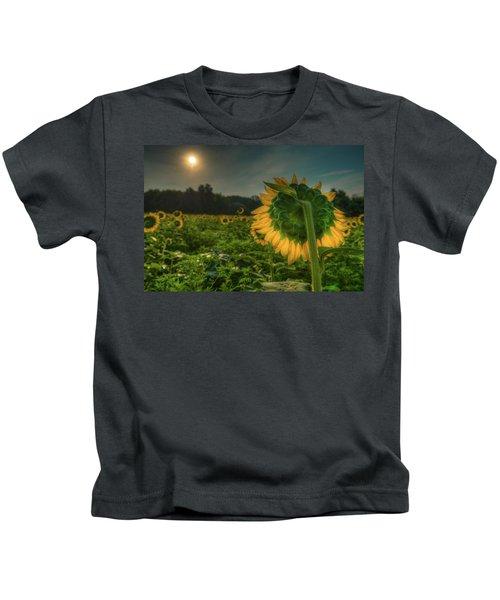 Blooming Sunflower Facing Rising Sun Kids T-Shirt