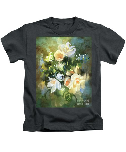 Kids T-Shirt featuring the painting Blooming by Tithi Luadthong
