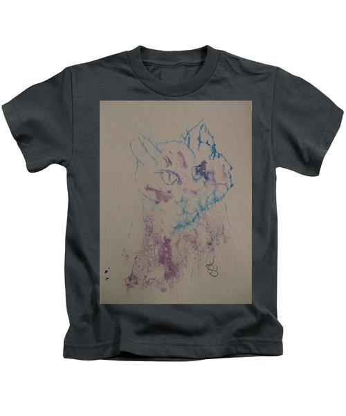 Blue And Purple Cat Kids T-Shirt